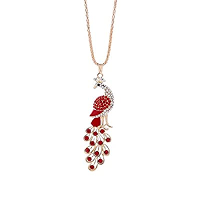 iLH® Clearance Deals Peacock Pendant Necklace Women Charm colorful Peacock Rhinestone Cute Necklace Jewelry by ZYooh