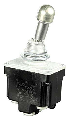 MS27408-4A, Switch Toggle ON ON ON SP3T Locking Lever Screw 20A 277VAC 250VDC 745.7VA Panel Mount with Threads