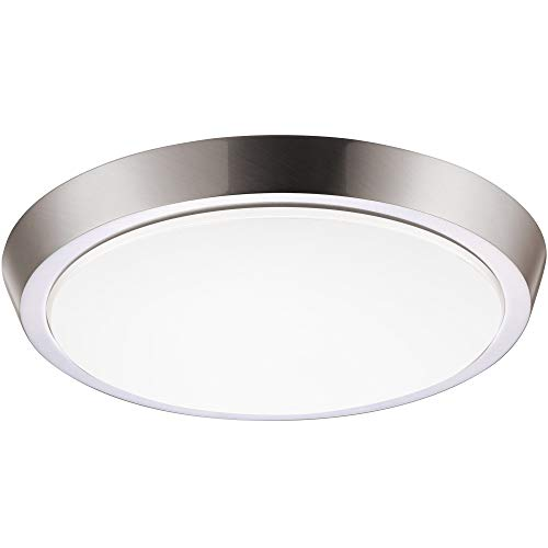GetInLight 11 Inch Flush Mount LED Ceiling Light with ETL Listed, Soft White 3000K, Brushed Nickel Finish, IN-0302-4-SN