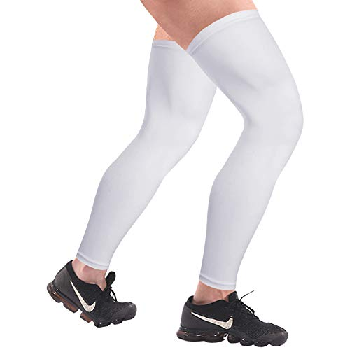 HuiYee Sports Compression UV Long Leg Sleeves for Running Basketball Football Cycling and Other Sports(3 Sizes, 1 Pair) (White Leg Sleeve)