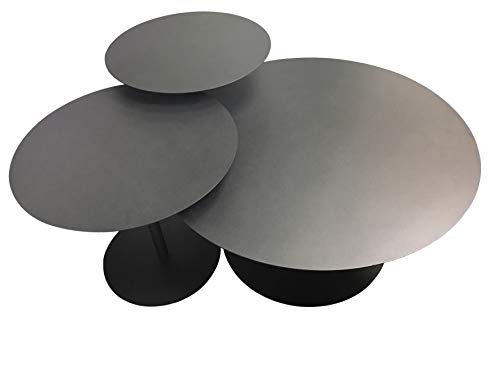 Leisure Space 3-pcs Round Metal Coffee Table Set, Black Powder Coating Finish 18 20 30