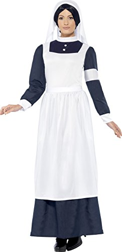 Smiffy's Women's Great War Nurse Costume, Dress and Headpiece, Tales of Old England, Serious Fun, Size 14-16, (Nurse Halloween Fancy Dress)