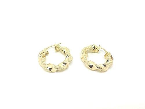 Boucles d'oreilles créoles torsadées en or 18ct/750Or jaune Diamant iert ternit (Diamètre 5.50x 23mm)
