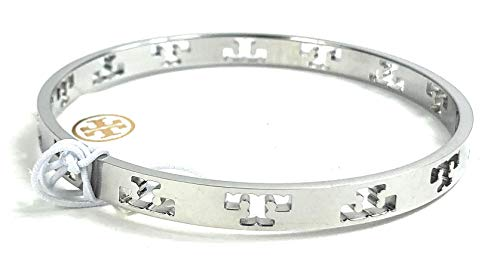 (Tory Burch Pierced T Bangle Bracelet Silver Plated)