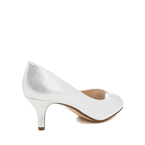 Debut Womens Silver Metallic 'Darleen' Mid Stiletto Heel Peep Toe Shoes mLschp185V