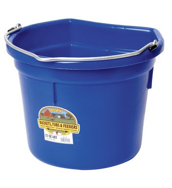 LITTLE GIANT Flat-Back Dura-Flex Plastic Bucket, 22-Quart, Blue