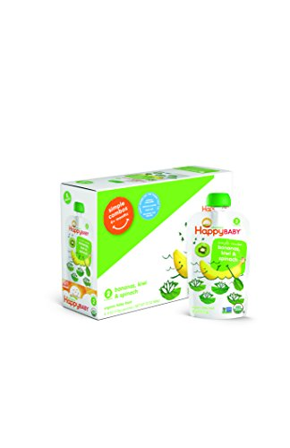 Organic Stage 2 Pouches, Happy Baby, Bananas, Kiwi & Spinach, (8)