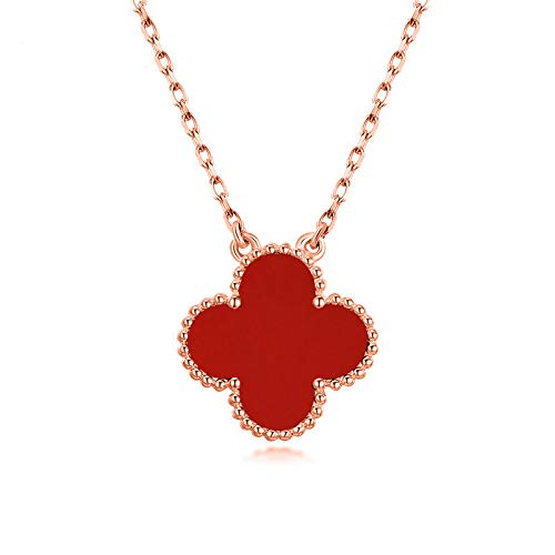 Asaa S925 Jewelry Sterling Silver Black/Red Onyx and Cubic Zirconia Four Leaf Clover Necklace with Adjustable Length for Women 18 (Red-Rose Gold Plated)