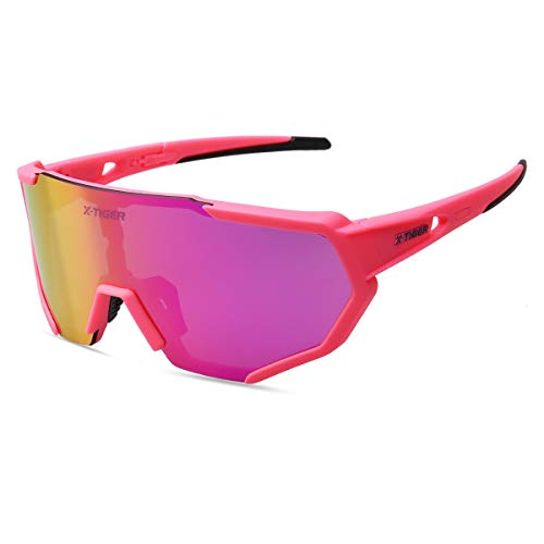 X-TIGER Polarized Sports Sunglasses with 3 Interchangeable Lenses,Mens Womens Cycling Glasses UV400 Protection,Baseball Running Fishing Golf Driving Sunglasses,9 Colours Available (Pink and Black)