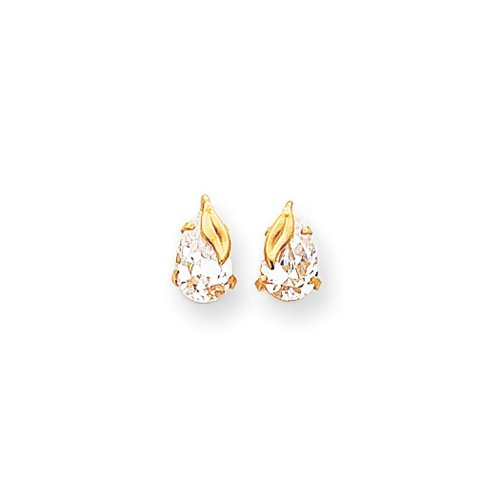 Pear Shaped Cubic Zirconia Leaf Stud Earrings in 14k Yellow Gold 14k Yellow Gold Leaf Earrings