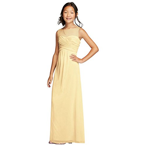 Long Mesh Dress With Illusion Tank Ruched Bodice Style Jb9010  Canary  12