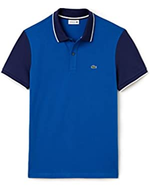Men's Men's Blue Polo With Contrast Sleeves in Size 4-M Blue