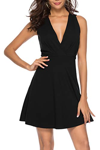 Sarin Mathews Womens Cocktail Party Skater Dresses V Neck A-line Homecoming Sexy Summer Short Club Dress Above Knee Length Sleeveless Black L
