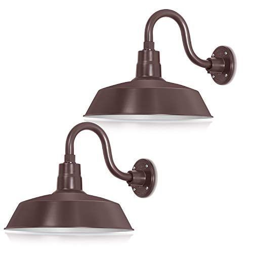 (14in. Architectural Bronze Outdoor Gooseneck Barn Light Fixture With 10in. Long Extension Arm - Wall Sconce Farmhouse, Antique Style - UL Listed - 9W 900lm A19 LED Bulb (5000K Cool White) - 2-Pack)