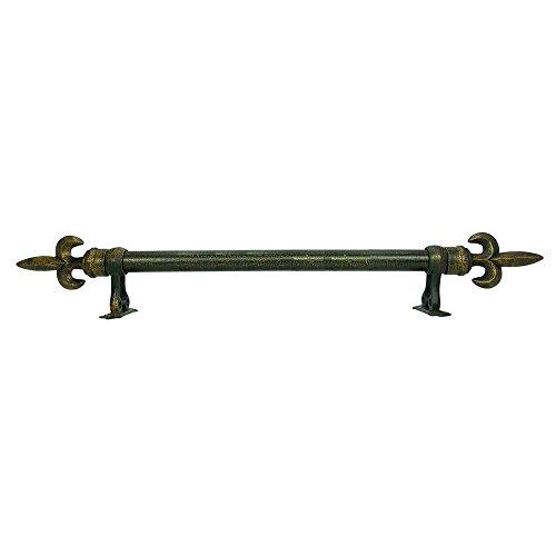 House Parts Inc Small Fleur De Lis Finial Adjustable Antique Bronze Rod Set Antique Bronze 48