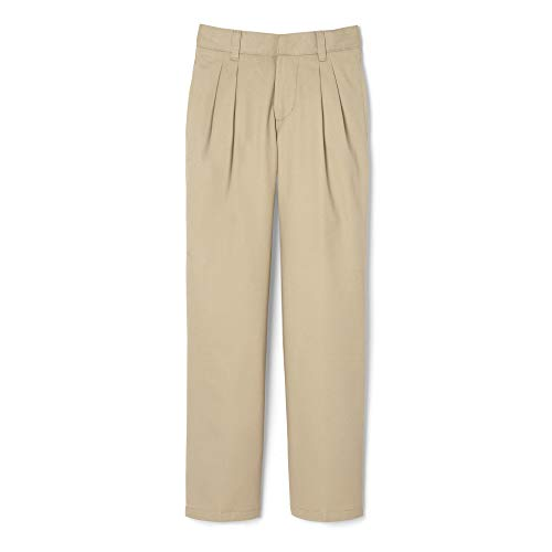 French Toast Boys' Pleated Double Knee Pant with Adjustable Waist