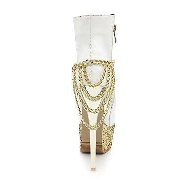 Heart&M Mujer Zapatos PU microfibra sintético Cuero Patentado Otoño Invierno Botas de Moda Botas hasta el Tobillo Botas Tacón Stiletto Plataforma red
