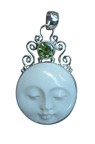 Jewelry with Soul Peridot Moon Face Bali 925 Sterling Silver ()