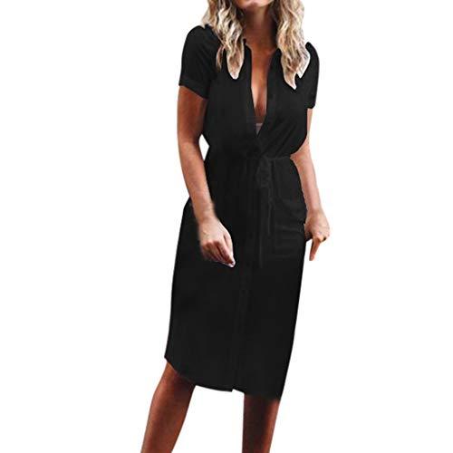 Goddessvan 2019 Sexy Women Lace Up Mini Shirt Dress Casual Flowy Midi Belt Dress with Pockets Black