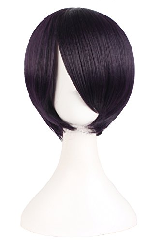 [MapofBeauty Short Straight Cosplay Costume Wig Party Wig (Purple Black)] (Purple Wig Costumes)