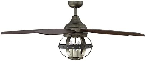 Savoy House 52-840-5CN-196 Protruding Mount, 5 Chestnut Blades Ceiling fan with 69.8 watts light, Reclaimed Wood Finish