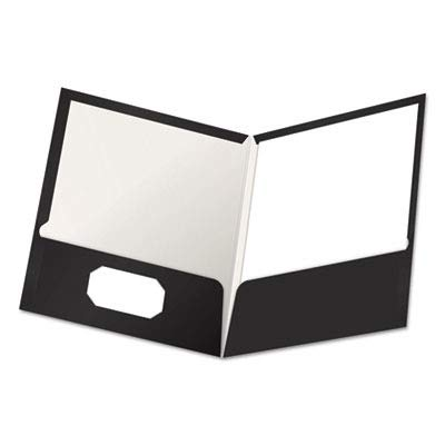Oxford Laminated Twin Pocket Folders - Letter - 8.50quot; Width x 11quot; Length Sheet Size - 2 Pockets - Black - 25 / Box
