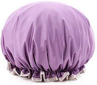 CQIANG シャワーキャップ、レディースシャワーキャップレディース用のすべての髪の長さと太さのデラックスシャワーキャップ - 防水とカビ防止、再利用可能なシャワーキャップ。 (Color : Light purple)