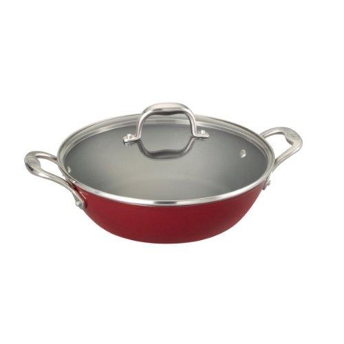 Guy fieri light weight cast iron 5 quart braiser pan red for Buy kitchen cookware