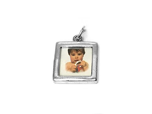 Frame Sterling Silver Photo Square (Square Frame Double Sided Plain Charm Sterling Silver 21mm, silver Photo Frame Charms, 925 Sterling Silver Charms, Picture Charms - SP390)
