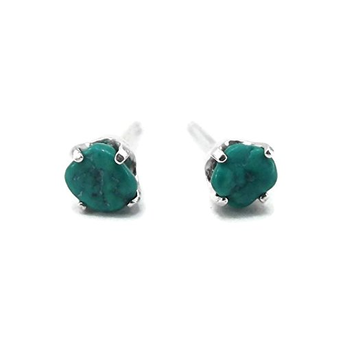 Raw Turquoise Sterling Silver Stud Earrings