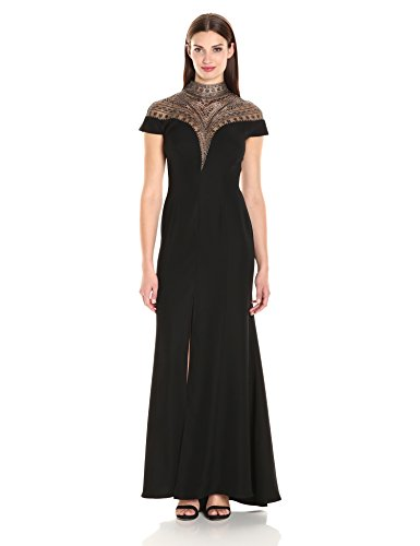 Tadashi Shoji Women's Cap Sleeve Gown with Beaded Neck, Black, 14