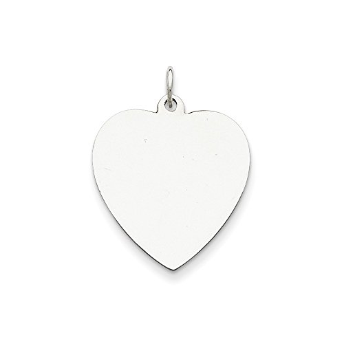 Sterling Silver Heart Disk - Genuine .925 Sterling Silver Engraveable Heart Disc Charm. 100% Satisfaction Guaranteed.