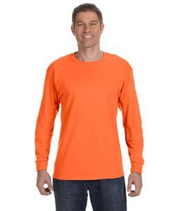 Jerzees Men's Heavyweight Blend 50/50 Long Sleeve T-Shirt (Safety Orange, X-Large)