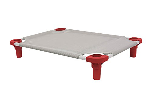 """Mahar Manufacturing 40"""" x 22"""" Pet Cot in Gray with Red Legs, Unassembled from 4Legs4Pets"""