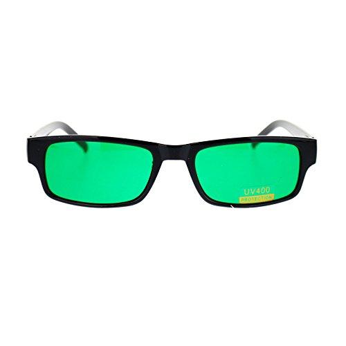 Mens Small Face Snug Fit Color Lens Rectangular Plastic Frame Sunglasses Green