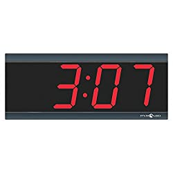 Pyramid 4-1/2 x 11-1/2 Rectangle LED Wall Clock, Black ABS Plastic Frame