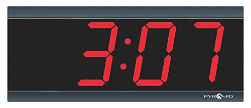 Pyramid 4-1/2 x 11-1/2 Rectangle LED Wall Clock, Black ABS Plastic Frame