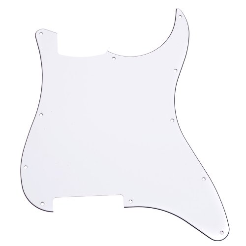 1 Ply White Pickguard (Kmise A6712 1 Piece White 3-Ply 11 Holes Not Carved Pickguard for Strat Electric Guitar Replacement)