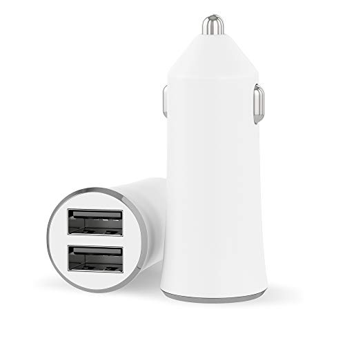 Car Charger USB Phone Charger – by TalkWorks | 20W/4.2A | Dual Port USB Universal Fast Charge for iPhone XR/XS/X / 8/7 / 6, SE, 5, iPad, Samsung Galaxy S10 / S9, Nintendo Switch – White