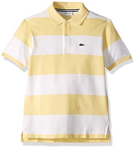 Lacoste Little Boys' Striped Cottom Pique Polo, NAPOLITAN Yellow/White, 5YR