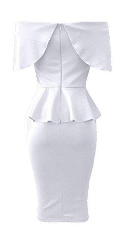 Ybenlowna Femmes Sexy Au Large Des Robes Robe Courte Cocktail Manches Épaule Moulante Peplum Blanc