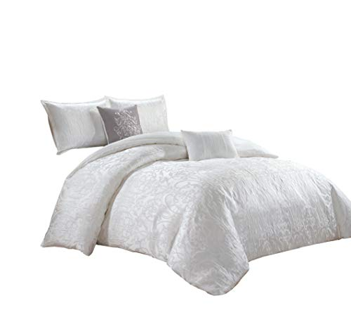 Chezmoi Collection Gloria 5-Piece Luxury Clip Jacquard Floral Textured Comforter Set - White - Queen ()