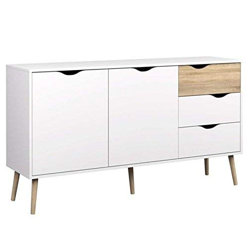 Tvilum 7538149ak Diana Sideboard with 2 Doors and 3 Drawers White/Oak Structure