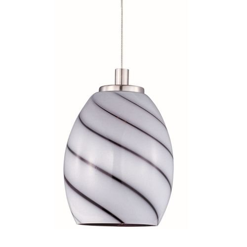 ET2 E94437-108SN Swirl 1-Light RapidJack Pendant and Canopy Mini Pendant, Satin Nickel Finish, Grape Swirl Glass, 12V GY6.35 T4 Xenon Bulb, 7.2W Max., Dry Safety Rated, 3500K Color Temp., Shade Material, 210 Rated Lumens