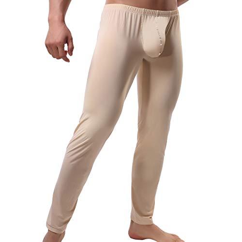 QiaTi Men's Tight Long Underwear Sexy Long Pants Sexy Tight Underwear Soft Compression Underwear for Men Long Leggings Pants (X-Large (fits Like US Large), New Beige)