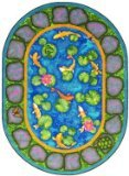 Joy Carpets Kid Essentials Early Childhood Oval Maria's Garden Rug, Multicolored, 10'9