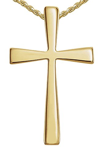 Women's Small 0.75in Solid 14k Yellow Gold Christian Cross Hidden Bail Pendant 1.5mm Rope Necklace, 16