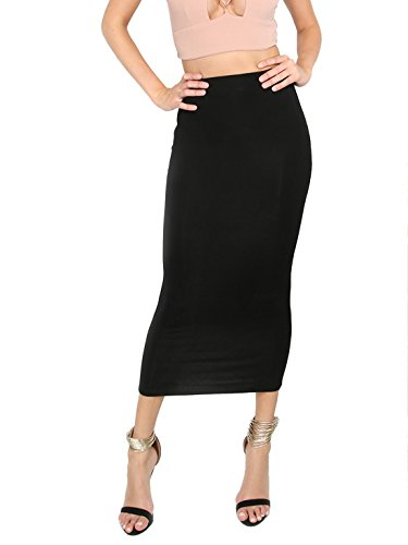 MAKEMECHIC Women's Solid Basic Below Knee Stretchy Pencil Skirt Black L -