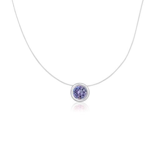 KEZEF Creations Sterling Silver Round Cut Cubic Zirconia Lavender Bezel Set Solitaire Pendant Necklace