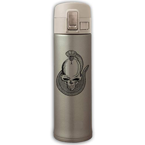 Stainless Steel Mug Skull Snake Bouncing Cover Insulation Vacuum Cup Bottle Thermos Mug Natural